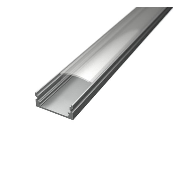 Aluminijski profil NADGRADNI 8mm x 17,1mm – 2m – prozirni pokrov