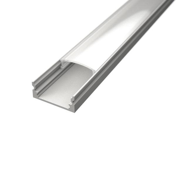Aluminijski profil NADGRADNI 8mm x 17,1mm BIJELI 2 m prozirni pokrov