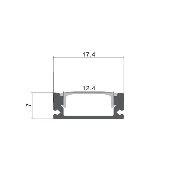Aluminijski profil NADGRADNI 8mm x 17,4mm BIJELI 2 m mliječni pokrov