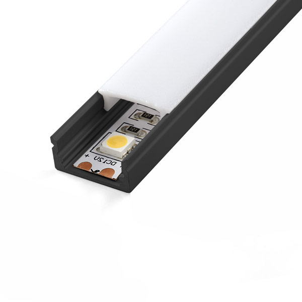 Aluminijski profil NADGRADNI 8mm x 17,4mm CRNI 2 m prozirni pokrov
