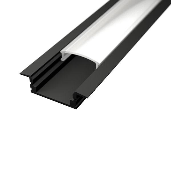 Aluminijski profil UGRADBENI 1 CRNI 8mm x 17,1mm – 2m Mliječni pokrov