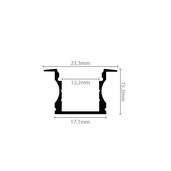 Aluminijski profil UGRADBENI 2 15,3mm x 17,1mm – 2m