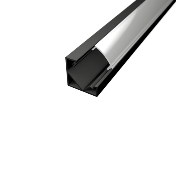 Aluminijski profil za LED traku crni KUTNI 1 18,5mm x 12,2mm – 2m