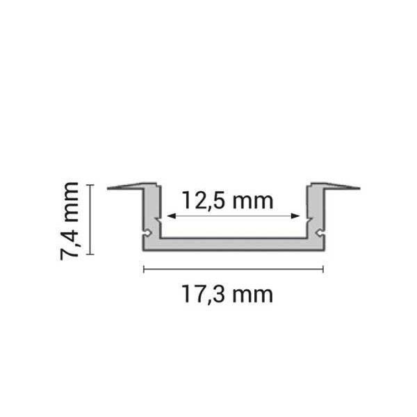 Aluminijski profil za LED traku ugradbeni 1m