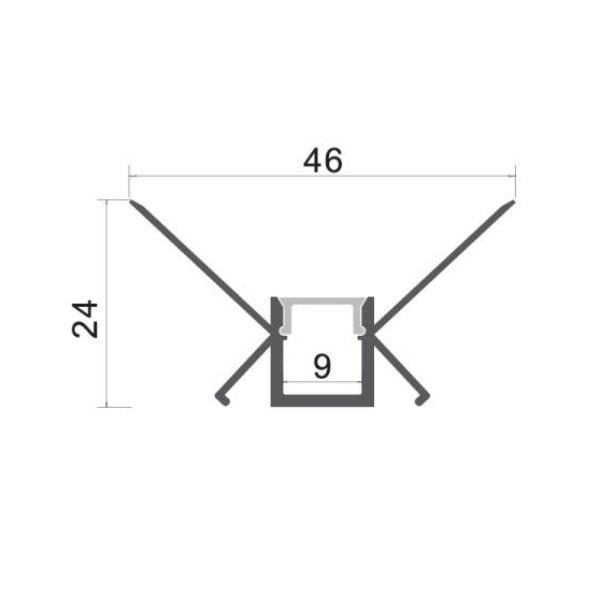 Aluminijski profil za LED traku ugradbeni 2m Unutarnji kut