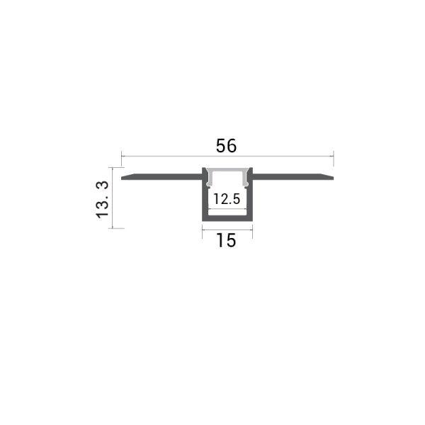 Aluminijski profil za LED traku ugradbeni 2m