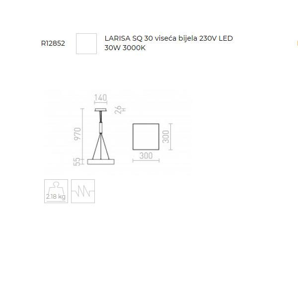 Larisa SQ 30 LED visilica 230V LED 30W 3000K 300x300