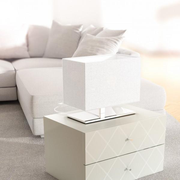 PLAZA S stolna LED lampa bijela/krom 230V E27 7W 2800K